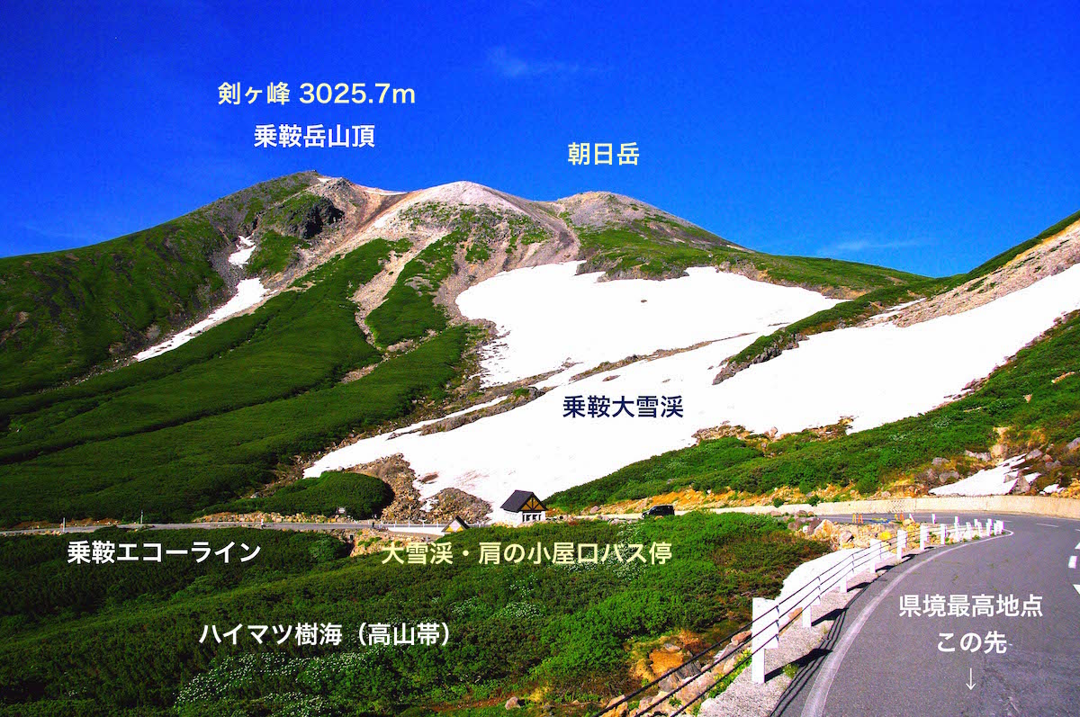 大雪渓を通過後、振り返るとこんな風景が展開